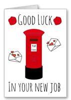 Postman Post lady Good Luck In New Job Card Postie Postal Worker Mail