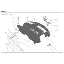 Ducati Sport 1000 S Gas Tank black / white 58610711BT
