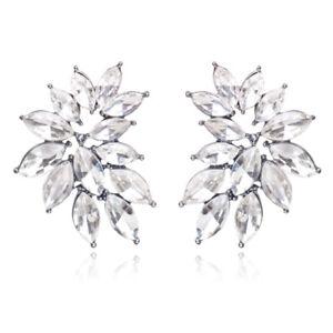 Clear Crystal Pretty Statement Chunky Rhinestone Silver Zara Fashion Earrings