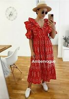 Zara  Ruffles Cutwork Embroidery Red Midi Dress SS20 Size L