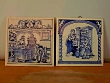LOT OF 2 DELFT HOLLAND HANDMADE TILES - 1985 & 1991 - WOMEN PHARMACISTS