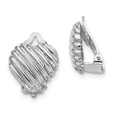 925 Sterling Silver Rhodium-plated Heart Clip Back Non-pierced Earrings; 19 mm