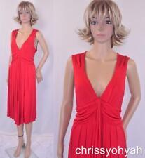 VTG Banana Republic Red Plunging Deep V Stretchy Draped Flowy Asym Party Dress