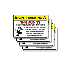 Audi TT Security Yellow Warning GPS Tracking Decal Stickers 4 PACK