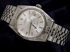 Rolex Datejust Stainless Steel 18K White Gold Watch Silver w/ Jubilee Band 1601