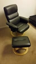 Gplan Relaxateeze Dark Brown Reclining Swivel Chair Footstool (Stressless Style)