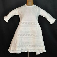 Antique Victorian Girls White Linen Dress 1890, Stylish Embroidery
