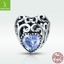 925 Sterling Silver Alexandrite Charm Bead June Birthstone Fit Birthday Bracelet