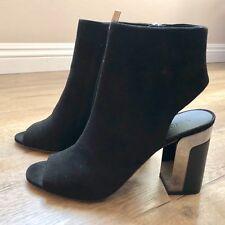 NIB New Vince Fenmore Women's Heels Black Open Heel Peep Toe Suede Size 8 M $395