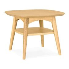 INGRID RETRO SCANDINAVIAN WOODEN OAK SIDE TABLE WITH SHELF