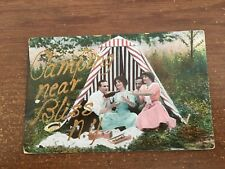 """BLISS NY, PC LARGE LETTERS IN GOLD """" CAMPING NEAR BLISS NY """" 1912"""