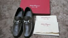NEW SALVATORE FERRAGAMO 'Magnifico' brown Pebbled Leather Loafers Size 10 EE