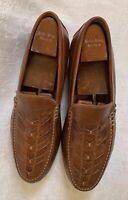 JOHNSTON & MURPHY Men's Cresswell Woven Loafer Tan Calfskin Dress Shoes SIZE 12