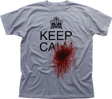 KEEP CALM AND BLOOD SHOT SPLATTER TRUE FUNNY HORROR white cotton t-shirt 09935