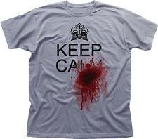 Restez calme et de sang shot éclaboussures vrai Drôle Horreur T-shirt en coton blanc 09935