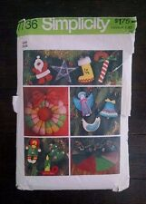Simplicity Vintage Pattern 7736 Christmas Ornaments Tree Skirt 1976 Holiday Cut