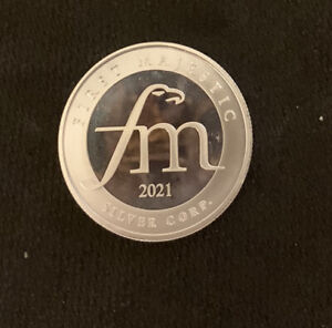 (1)  2021 FIRST MAJESTIC ONE TROY OUNCE .999 FINE SILVER ROUND USA SELLER