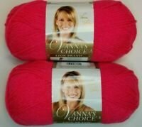 Lion Brand VANNA'S CHOICE Yarn ~ Rose Shocking ~ Lot of *2* New Skeins