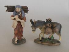 Hirte mit Holz und Esel mit Gepäck für Krippenfiguren Größe 11 - 12 cm,Polystone