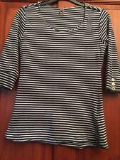 Womens Top Size 10 Navy & White Stripe (B19)