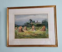 Vintage Original Oil Painting Corn Stacks Landscape Framed & Signed. Harvest
