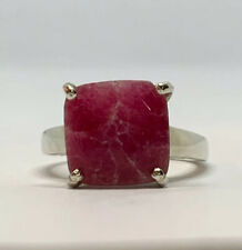 925 Sterling Silver Giant Natural Square Rubellite Solitaire Ring Size 9