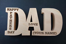 dad freestanding large wooden letters plaque  engraved fathers day present giftx