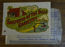ORIGINAL VINTAGE TRAVEL DECAL SHEPARD OF THE HILLS COUNTRY CAMPING OZARK MTS OLD