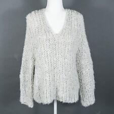 IRIS von ARNIM Chunky Open-Knit Cashmere Sweater Pullover V-Neck Gray M