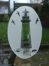 """Frosted glass look LIGHTHOUSE Glass decoration 8""""x12"""" / 20x28cm"""