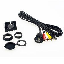 KFZ USB 2.0 Audio Video Cinch Klinke Einbau Aufbau Buchse mit 2m Verlängerung