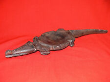 Vintage PNG CROCODILE BOWL WOOD CARVING Handmade Old Tribal Artefact - AUTHENTIC