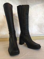 La Canadienne Black Leather Knee High Zip-Up Boots, US Women's 7.5 M