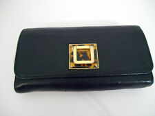 RARE Authentic Tory Burch w/Leopard & Gold Buckle~Black Pebbled Leather Wallet
