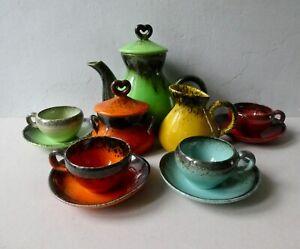 service à café en céramique Keraluc Quimper France, années 50, 4 tasses