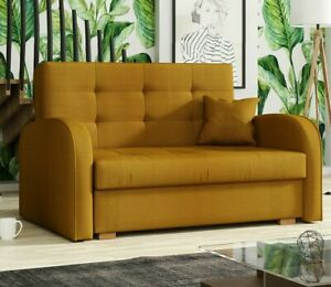 Sofa Benjamin Gold II Zweisitzer Polster Couch Bettkasten Schlaffunktion Design