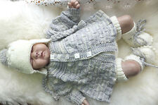 KNITTING PATTERN TO MAKE *TUESDAY'S CHILD* 4 PIECE SET FOR BABY OR REBORN DOLL