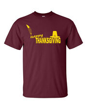 HAPPY THANKSGIVING Day Turkey Family Dinner Food Football Fun Mens Tee Shirt 605