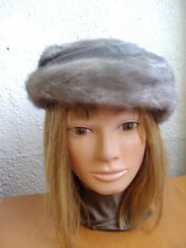 """EXCELLENT SAPPHIRE MINK FUR W/LEATHER HAT WOMEN WOMAN SIZE 21"""" NEW LINING"""