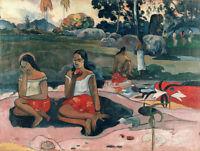 Stunning Oil painting Paul Gauguin - Sweet Dreams happy people in landscape