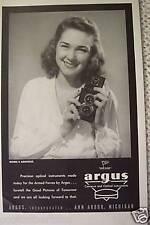 ARGUS CAMERA ANACONDA COPPER BRASS OLD  WWII ADS  1945