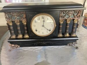 Antique SESSIONS Mantle CLOCK with Columns  And Key Keeps Good Time Very Ornate