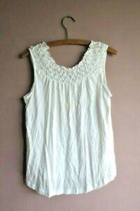 Anthropologie Maeve Justine Smocked White Vest Tee Top Sz Medium
