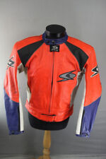 RED, WHITE, BLUE & BLACK SPYKE LEATHER RACING BIKER JACKET + CE ARMOUR 40 INCH