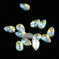 48PCS Sew-on Tear Drop Craft AB Rhinestone Glass Crystal 2 Hole Flatback Decor