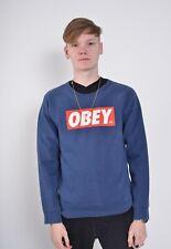 Vintage Obey Sweatshirt Jumper - Blue - Size Small S (q1)