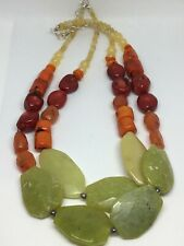 Sterling Silver Barse Coral Jade 2 Strand Beaded Necklace