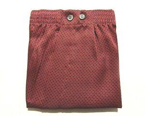DEREK ROSE BOXERSHORTS - LARGE - 100% SILK BOXERS - RRP. £140 CLASSIC NAVY &RED