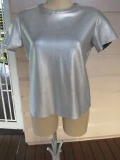 Country Road fabulous silver stretch knit short-sleeved top size S (10) (US 6)