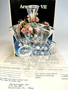 Vintage Floral Seven Glass Flower Arranger Design Vase Excellent Condition 1982